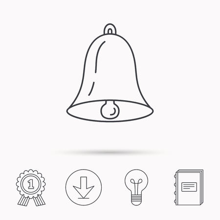 handbell: Bell icon. Sound sign. Alarm handbell symbol. Download arrow, lamp, learn book and award medal icons.