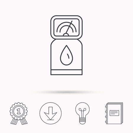 gas lamp: Gas station icon. Petrol fuel pump sign. Download arrow, lamp, learn book and award medal icons.