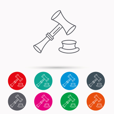 sentencing: Auction hammer icon. Justice and law sign. Linear icons in circles on white background.