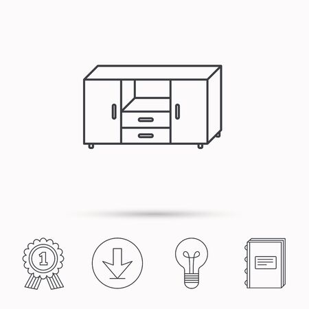commode: Chest of drawers icon. Interior commode sign. Download arrow, lamp, learn book and award medal icons.