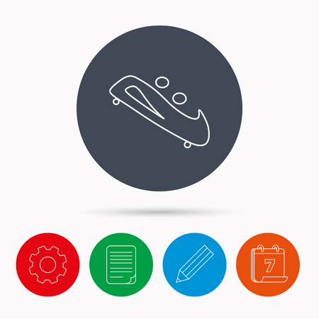 luge: Bobsleigh icon. Two-seater bobsled sign. Professional winter sport symbol. Calendar, cogwheel, document file and pencil icons.