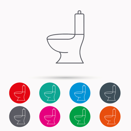 wc sign: Toilet icon. Public WC sign. Linear icons in circles on white background. Illustration