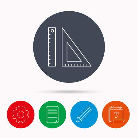 Triangular ruler icon. Geometric school supplies symbol. Calendar, cogwheel, document file and pencil icons. Illustration