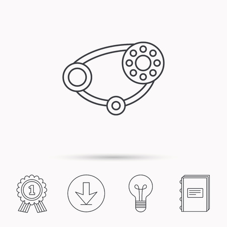 alternateur: Timing belt icon. Generator strap sign. Repair service symbol. Download arrow, lamp, learn book and award medal icons. Illustration