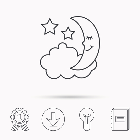 moonbeam: Night or sleep icon. Moon and stars sign. Crescent astronomy symbol. Download arrow, lamp, learn book and award medal icons. Illustration