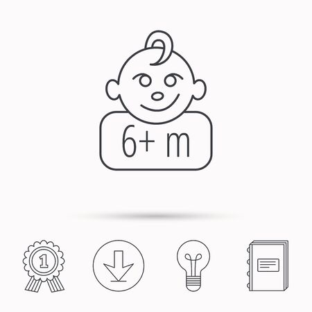 six months: Baby face icon. Newborn child sign. Use of six months and plus symbol. Download arrow, lamp, learn book and award medal icons.