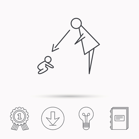 nanny: Under nanny supervision icon. Babysitting care sign. Mother watching baby symbol. Download arrow, lamp, learn book and award medal icons.