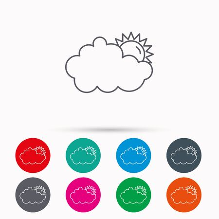 overcast: Sunny day icon. Summer sign. Overcast weather symbol. Linear icons in circles on white background.
