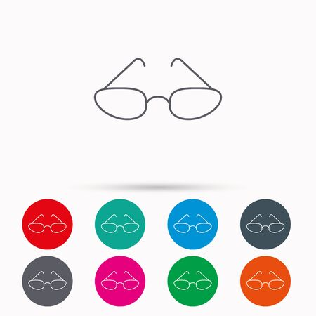eye glasses: Glasses icon. Reading accessory sign. Linear icons in circles on white background.