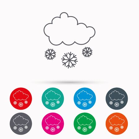 overcast: Snow icon. Snowflakes with cloud sign. Snowy overcast symbol. Linear icons in circles on white background.