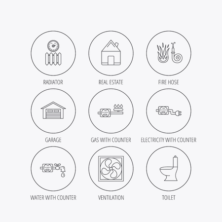 Ventilation, garage and heat radiator icons. Gas, water and electricity counter linear signs. Real estate, toilet and fire hose icons. Linear colored in circle edge icons. Vector Illustration
