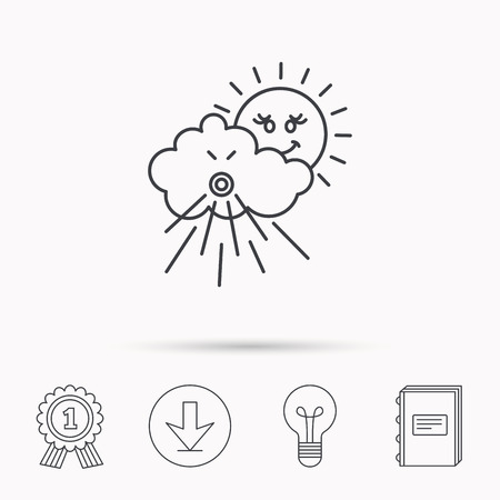 the tempest: Wind icon. Cloud with sun and storm sign. Strong wind or tempest symbol. Download arrow, lamp, learn book and award medal icons. Illustration