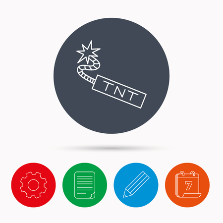 tnt: TNT dynamite icon. Bomb explosion sign. Calendar, cogwheel, document file and pencil icons. Illustration