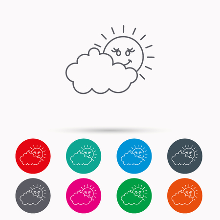 overcast: Cloudy day with sun icon. Overcast weather sign. Meteorology symbol. Linear icons in circles on white background.