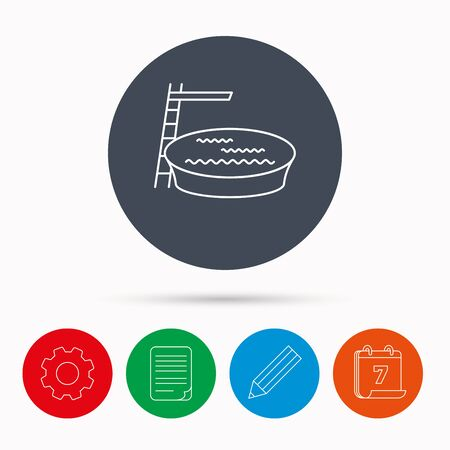 jumping into water: Swimming pool icon. Jumping into water sign. Calendar, cogwheel, document file and pencil icons.