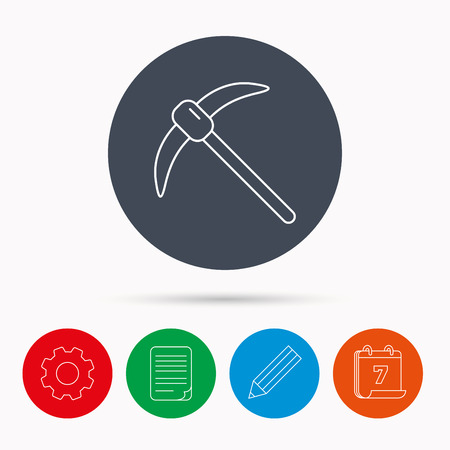 mattock: Mining tool icon. Pickaxe equipment sign. Minerals industry symbol. Calendar, cogwheel, document file and pencil icons.