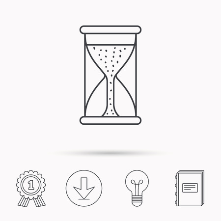 starting: Hourglass icon. Sand time starting sign. Download arrow, lamp, learn book and award medal icons.