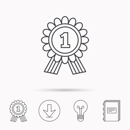 place to learn: Gold medal award icon. First place sign. Winner symbol. Download arrow, lamp, learn book and award medal icons. Illustration