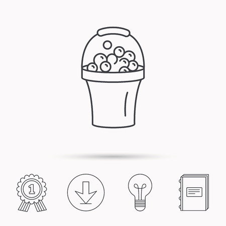 soapy: Bucket with foam icon. Soapy cleaning sign. Download arrow, lamp, learn book and award medal icons.
