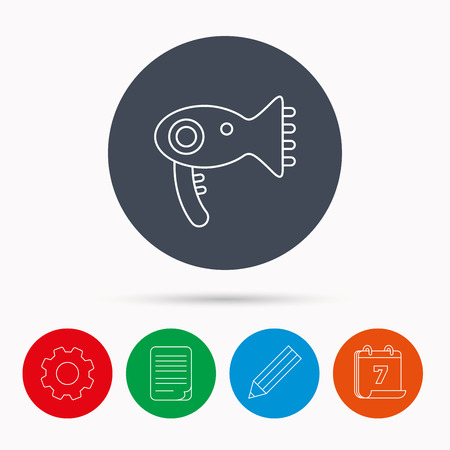 hair setting: Hairdryer icon. Electronic blowdryer sign. Hairdresser equipment symbol. Calendar, cogwheel, document file and pencil icons.