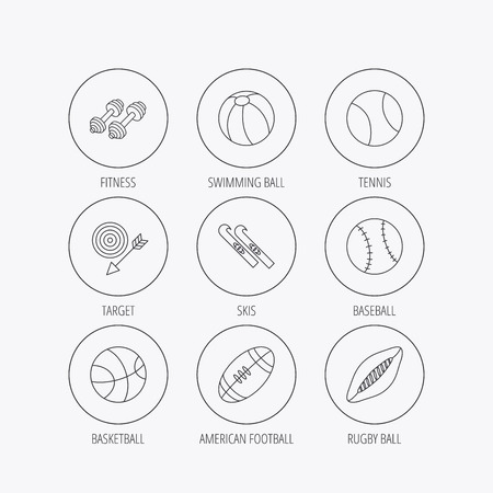 pilates ball: Sport fitness, tennis and basketball icons. Baseball, skis and American footmal signs. Rugby, swimming or pilates ball icons. Linear colored in circle edge icons.