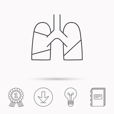 transplantation: Lungs icon. Transplantation organ sign. Pulmology symbol. Download arrow, lamp, learn book and award medal icons.