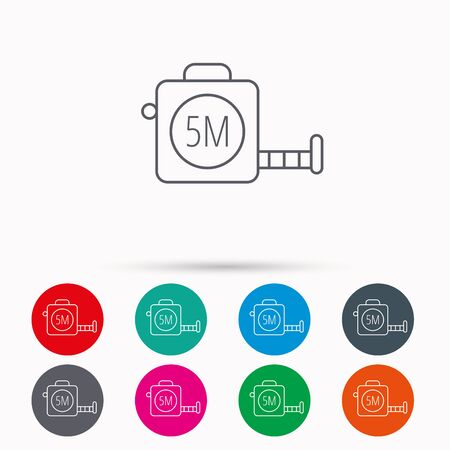 centimetre: Tape measurement icon. Roll ruler sign. Linear icons in circles on white background. Illustration