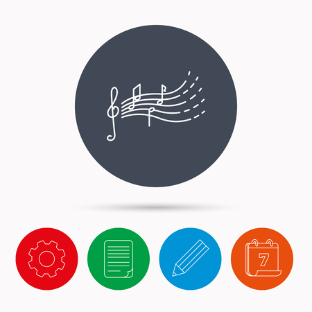 songs: Songs for kids icon. Musical notes, melody sign. G-clef symbol. Calendar, cogwheel, document file and pencil icons.