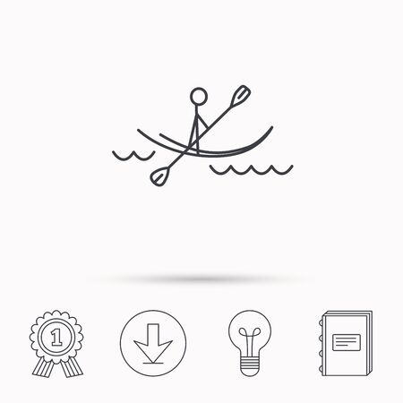 boating: Kayaking on waves icon. Rafting or canoeing sign. Boating sport symbol. Download arrow, lamp, learn book and award medal icons.