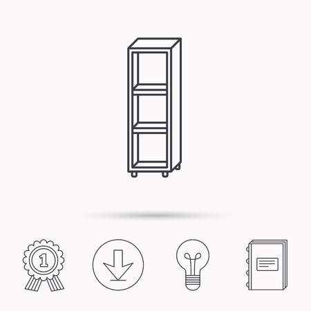 shelving: Empty shelves icon. Shelving sign. Download arrow, lamp, learn book and award medal icons. Illustration