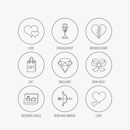 amour: Love heart, gift box and wedding rings icons. Broken heart and engagement linear signs. Valentine amour arrow, brilliant flat line icons. Linear colored in circle edge icons.