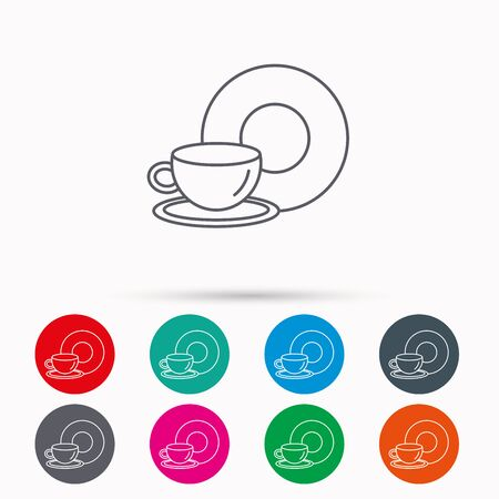 decaf: Coffee cup icon. Food and drink sign. Linear icons in circles on white background.
