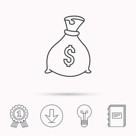 packaged: Sack with dollars icon. Money bag sign. Banking symbol. Download arrow, lamp, learn book and award medal icons.