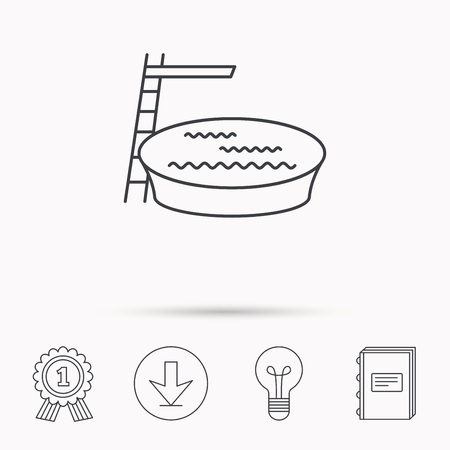 jumping into water: Swimming pool icon. Jumping into water sign. Download arrow, lamp, learn book and award medal icons.