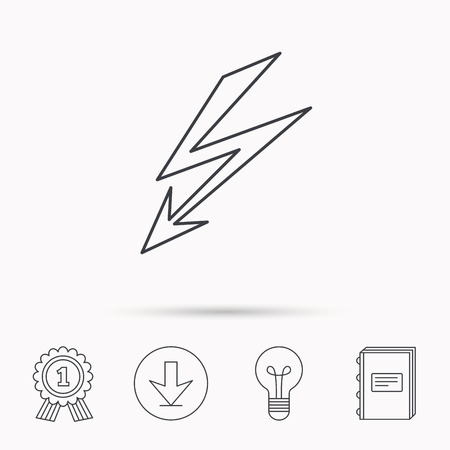lightening: Lightening bolt icon. Power supply sign. Electricity symbol. Download arrow, lamp, learn book and award medal icons.