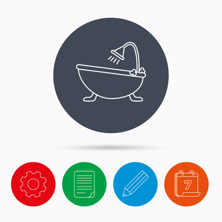 hot tub: Bathroom icon. Bath with shower sign. Calendar, cogwheel, document file and pencil icons.