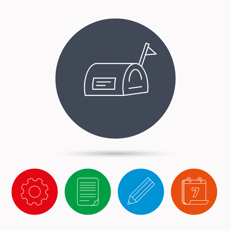 file box: Mailbox with flag icon. Post email box sign. Calendar, cogwheel, document file and pencil icons.