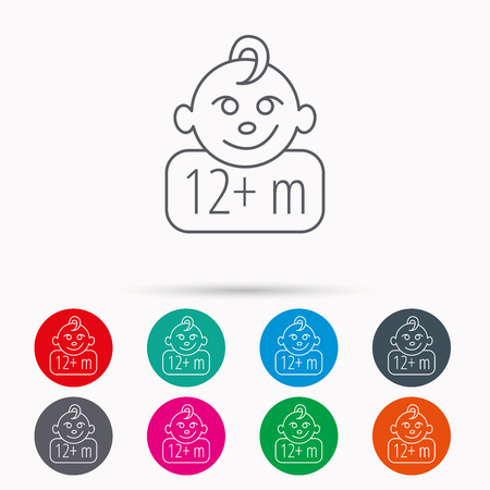 twelve: Baby face icon. Newborn child sign. Use of twelve months and plus symbol. Linear icons in circles on white background.