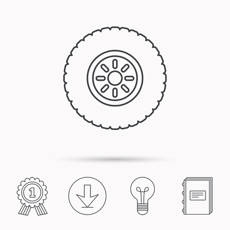 flaring: Car wheel icon. Tire service sign. Download arrow, lamp, learn book and award medal icons. Illustration