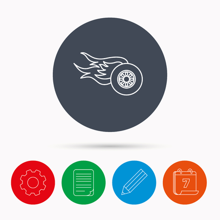 document file: Wheel on fire icon. Race or Speed sign. Calendar, cogwheel, document file and pencil icons.