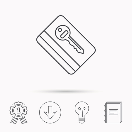 room card: Electronic key icon. Hotel room card sign. Unlock chip symbol. Download arrow, lamp, learn book and award medal icons.