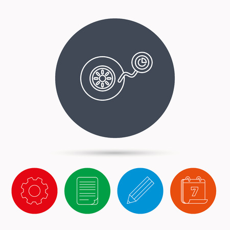 flaring: Wheel pressure icon. Tire service sign. Calendar, cogwheel, document file and pencil icons. Illustration
