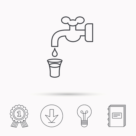 waterworks: Save water icon. Crane or Faucet with drop sign. Download arrow, lamp, learn book and award medal icons.