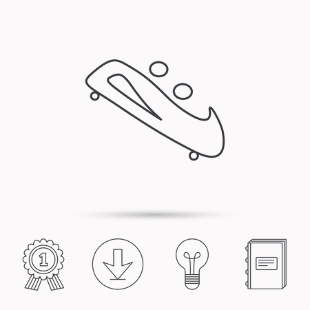 bobsleigh: Bobsleigh icon. Two-seater bobsled sign. Professional winter sport symbol. Download arrow, lamp, learn book and award medal icons.