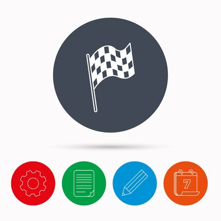 winning location: Finish flag icon. Start race sign. Calendar, cogwheel, document file and pencil icons.