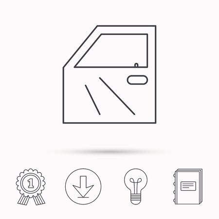 bodywork: Car door icon. Automobile lock sign. Download arrow, lamp, learn book and award medal icons.