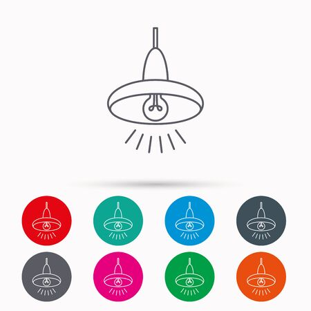 ceiling light: Ceiling lamp icon. Light illumination sign. Linear icons in circles on white background.