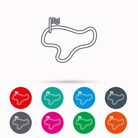 finish flag: Race track or lap icon. Finish flag sign. Linear icons in circles on white background.
