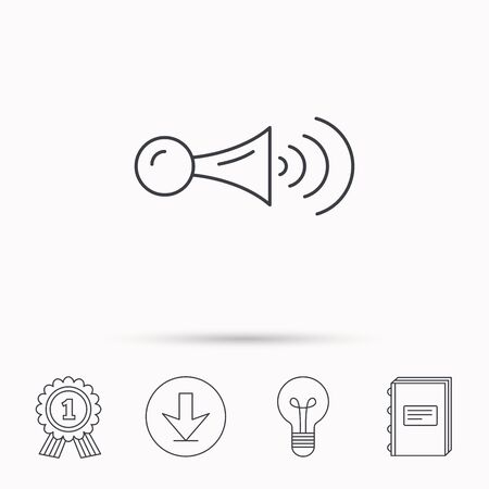 decibel: Klaxon signal icon. Car horn sign. Download arrow, lamp, learn book and award medal icons.