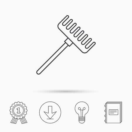 gardening  equipment: Rake icon. Gardening equipment sign. Outdoor instrument symbol. Download arrow, lamp, learn book and award medal icons.